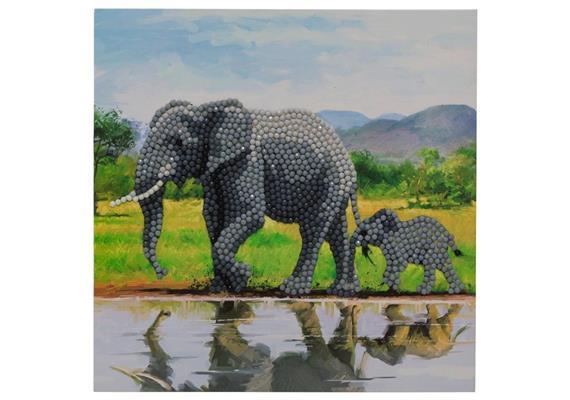Éléphant, carte 18x18cm Crystal Art
