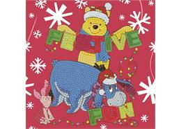 Festive Winnie the Pooh, 18x18cm Crystal Art Card