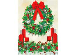 Festive Wreath, 21x29cm Giant Crystal Art Card
