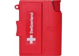 """Feuerzeug inkl.Taschenaschenbecher, rot mit """"Switzerland""""."""