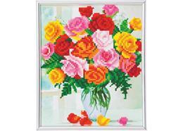Fleurs, image 21x25cm avec cadre Crystal Art