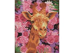 Girafe et fleurs, image 21x25cm avec cadre Crystal Art