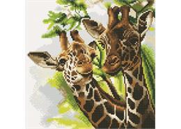 Girafes sympathiques, 30x30cm Crystal Art Kit