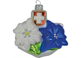 Glas Ornament als Edelweiss - Enzian Blume, 6 x 7.5cm