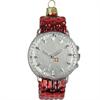Glas Ornament Armbanduhr rot, 8 x 5cm