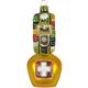 Glas Ornament Glocke mit Schleife und CH Kreuz, 9.2 x 4cm