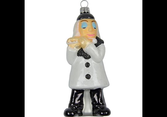 Glas Ornament Pierrot mit Querflöte