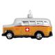Glas Ornament Postauto mit CH-Kreuz, 10.5 x 3.5cm