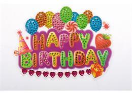 Happy Birthday, autocollant 10x15cm Crystal Art Motif