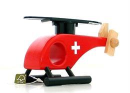 Helikopter Holz Rot mit CH Kreuz