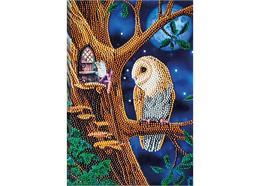 Hibou et arbre de fée, Crystal Art Carnet de notes