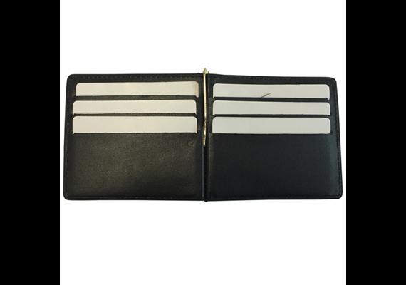 Kreditkarten Portemonnaie Echtleder mit Cliphalter für Geldscheine, schwarz, 194*88*5mm (g