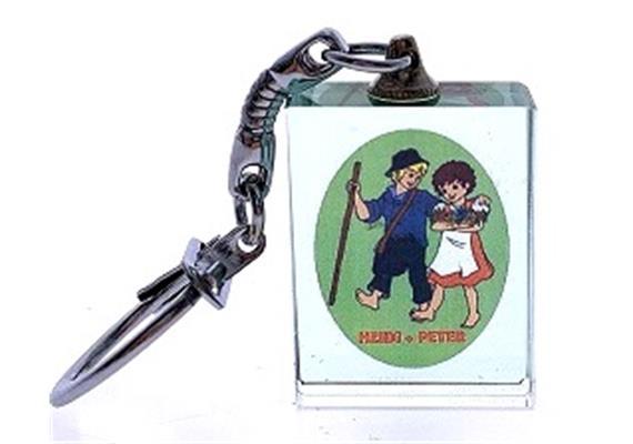 Kristall Schlüsselanhänger mit Heidi und Peter, 30 x 23 x 10 mm
