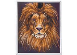 Lion, image 21x25cm avec cadre Crystal Art