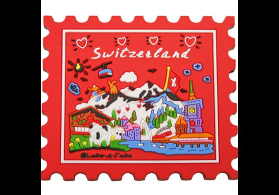 Magnet CL red Briefmarke Switzerland, Rubber, 66 x 59 mm (L x B)
