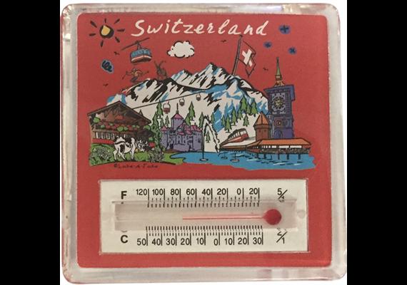 Magnet CL red Switzerland, Acryl, mit Schwimmelementen und Thermometer, 60 x 60 mm