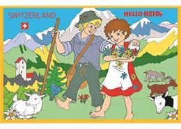 Magnet Titelbild aus Heidi Malbuch: Heidi und Peter auf der Alp, 7.5 cm x 5 cm