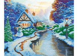 Maison enneigée près de la rivière, Image 40x50cm Crystal Art Kit THOMAS KINKADE