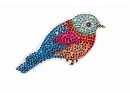 Oiseau, autocollant 9x9cm Crystal Art Motif