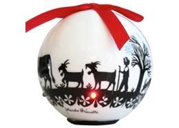 Ornament Dekokugel mit Scherenschnitt weiss/schwarz, 6 LED's, Ø 8cm