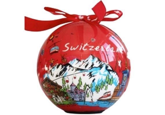 Ornament Dekokugel rot, 5 LED's, Ø 80 mm, Motiv Schweiz