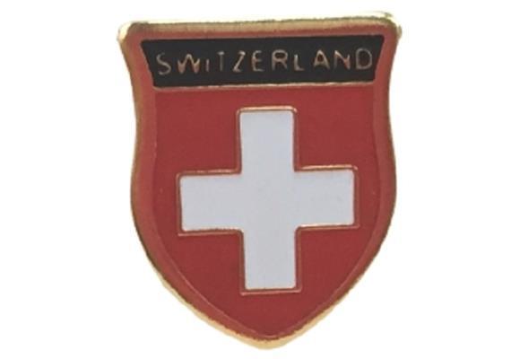 """Pin CH-Wappen mit """"Switzerland"""", Grösse: B 11mm, H 13mm"""