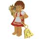 Pin Heidi mit Blumenstrauss und Glöckli