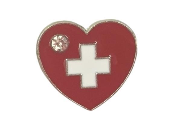 Pin Herz mit Schweizerkreuz und Strassstein