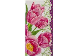 Pink Tulips, 11x22cm Crystal Art Card