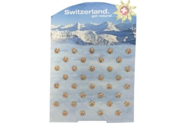 Pins Display Goldblume ® Schweiz Tourismus mit 36 Ex.