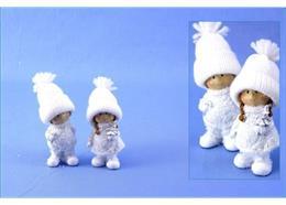 Poly-Winterkind mit Wollmütze weiss-silber beschneit sort. H9cm