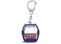 """Porte-clés bleu """"Verbier"""" télécabine Omega-IV, métal"""