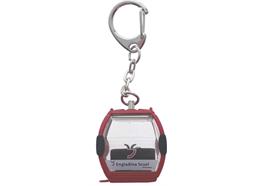"Porte-clés rouge ""Scuol Engadin"" télécabine Omega-IV, métal"