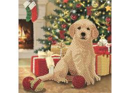 Puppy's First Christmas, 18x18cm Crystal Art Card
