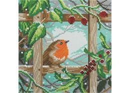 Robin à la clôture, 30x30cm Crystal Art Kit