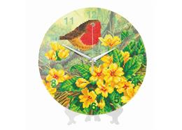 Robin, Crystal Art Clock