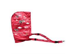 Schlüsselband Funny Cow mit Regenschutz Kapuze, rot