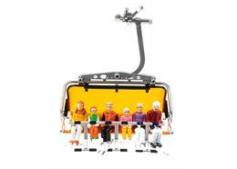 Set de 6 figures assises avec des Head-skis