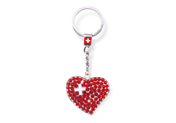SLA 3D Herz mit CH-Kreuz Strass, rot, 3.2 x 3.9 cm
