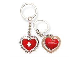 SLA I love Switzerland, 3D Herz doppels., drehbar, silber, 3.5 x 5.5 cm