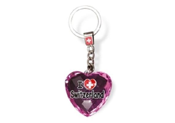 """SLA Kristal Herz """"I love Switzerland"""", rosa, 4 x 4 cm"""