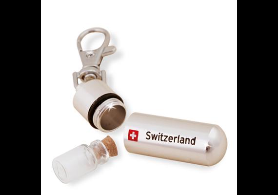 SLA Metall Pillendose mit Glasfläschchen, 5.2 x 1.5 cm