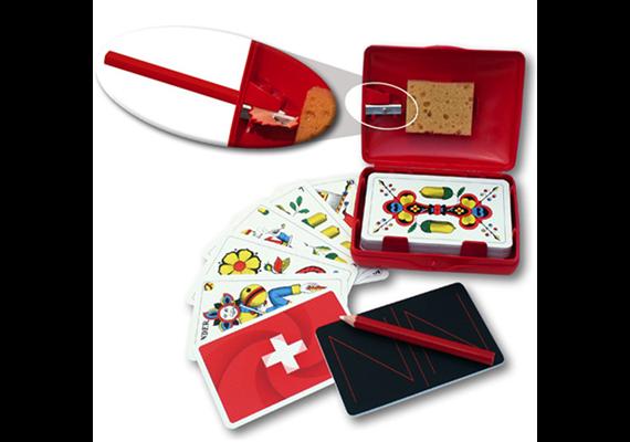 Spielkartenbox Hopp Schwiiz mit Spitzer, Jass