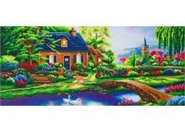 Stoney Creek Cottage, image 40x90cm Crystal Art Kit THOMAS KINKADE