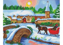 Village d'hiver, 40x50cm Crystal Art Kit
